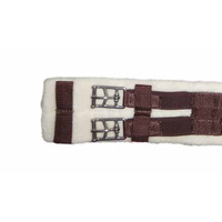 "NEW Wool Lined Dressage Girth [Size: 32"" / 81cm] [Colour: Brown with brown elastic]"